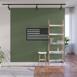 IR U.S. Flag on Military Green Background Wall Mural