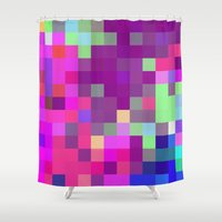 pixel art Shower Curtains featuring Pixel by FABIAN•SMITH