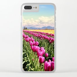 Tulip field Clear iPhone Case