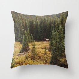 Rocky Mountain Creek Elk Throw Pillow
