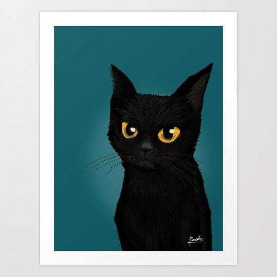 Cat in the blue Art Print