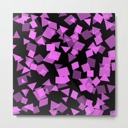Pink Confetti Pops on Black Metal Print