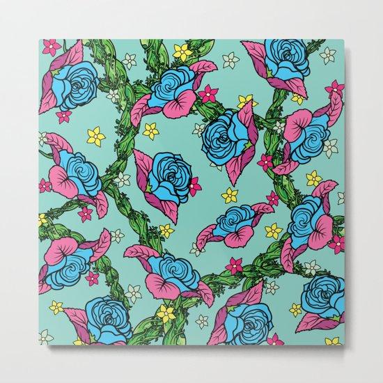 Blue Rose Pattern Metal Print