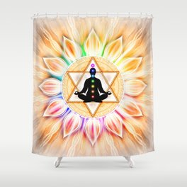 In Meditation With Chakras II Shower Curtain