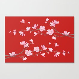 Cherry Blossom - Red Canvas Print