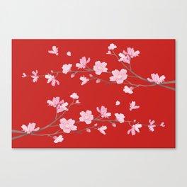 Cherry Blossom - Red Canvas Print