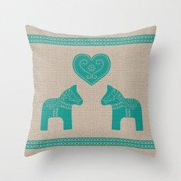 Turquoise Dala Horses on Burlap Throw Pillow