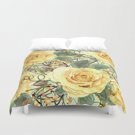 Watercolor Roses #3 Duvet Cover