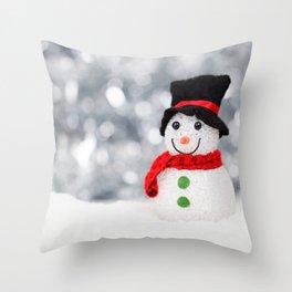 Christmas Photography - Mini Snowman Throw Pillow