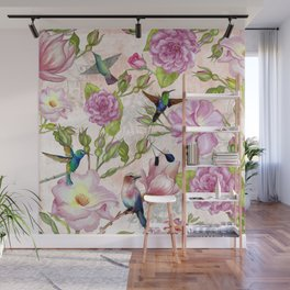 Vintage Roses and Hummingbird Pattern Wall Mural