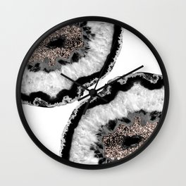 Gray Black White Agate Glitter Glamor #4 #gem #decor #art #society6 Wall Clock