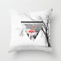 flamingo Throw Pillows featuring Flamingo by Mehdi Elkorchi