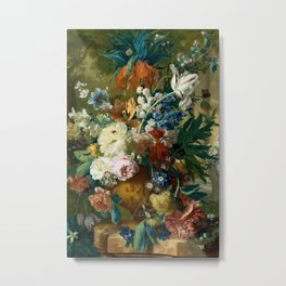 """Jan van Huysum """"Flowers in a Vase with Crown Imperial and Apple Blossom at the Top"""" Metal Print"""
