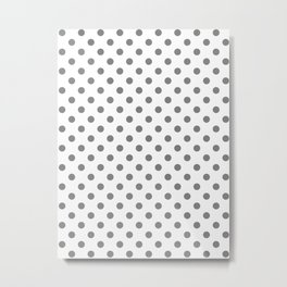 Small Polka Dots - Gray on White Metal Print