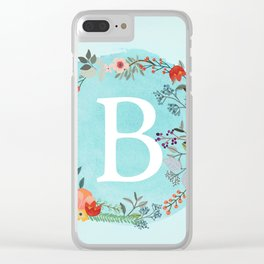 Personalized Monogram Initial Letter B Blue Watercolor Flower Wreath Artwork Clear iPhone Case