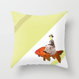 Sidesaddle on a goldfish Throw Pillow