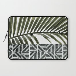 Palm Leaves on White Wall and Ceramic Tiles Laptop Sleeve