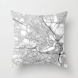Cambridge Map, USA - Black and White Throw Pillow