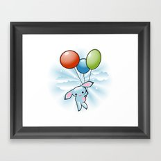 Cute Little Blue Bunny Flying With Balloons Framed Art Print