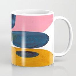Mid Century Modern Abstract Minimalist Retro Vintage Style Pink Navy Blue Yellow Rollie Pollie Ollie Coffee Mug