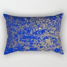 Royal Blue and Gold Patina Design Rectangular Pillow