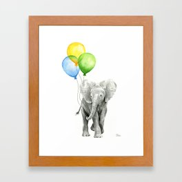Elephant with Three Balloons Framed Art Print