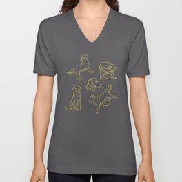 Golden Retriever Pattern (Teal Background) Unisex V-Neck