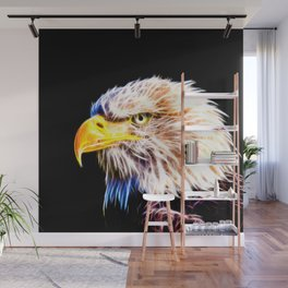 bald eagle 03 neon lines stardust Wall Mural