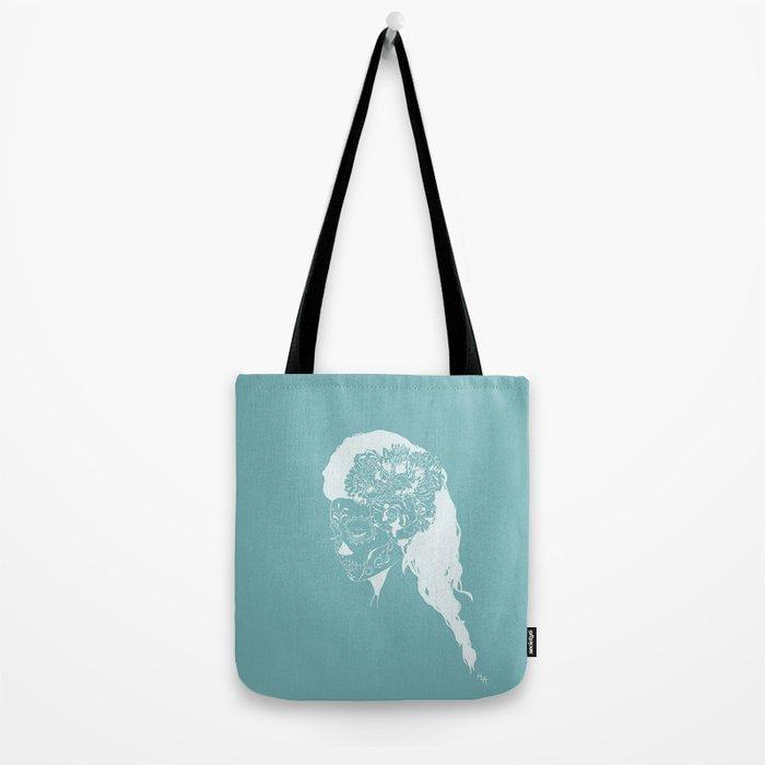 Skull Just White on Blue Tote Bag
