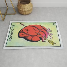 Vintage El Corazon Tarot Card Heart Love Artwork, Design For Prints, Posters, Bags, Tshirts, Men, Wo Rug