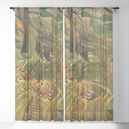 Tiger in a Tropical Storm - Surprised! by Henri Rousseau Sheer Curtain