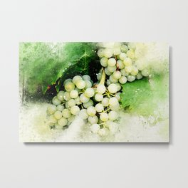 Green Grapes Watercolor Metal Print