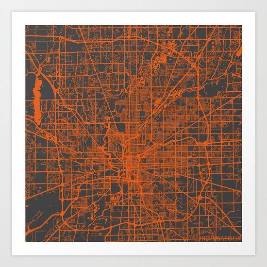 Indianapolis map Art Print