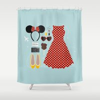 minnie mouse Shower Curtains featuring Minnie Mouse Flatlay by laurenschroer