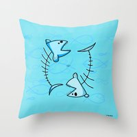 pisces Throw Pillows featuring Pisces by Giuseppe Lentini