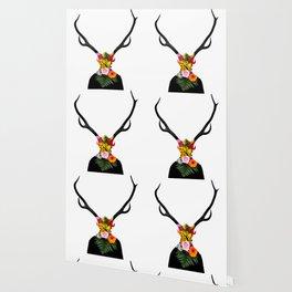 Deer head on flowers Wallpaper