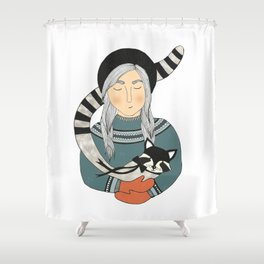 Girl and Raccoon. Shower Curtain