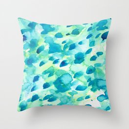 Blue, Green and Aqua Abstract Watercolor Painted Spots Throw Pillow