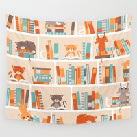 library Wall Tapestries featuring Library cats by Heleen van Buul