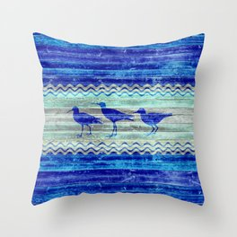 Rustic Navy Blue Coastal Decor Sandpipers Throw Pillow