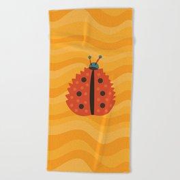 Orange Ladybug Autumn Leaf Beach Towel