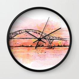 Bridge in coral Wall Clock