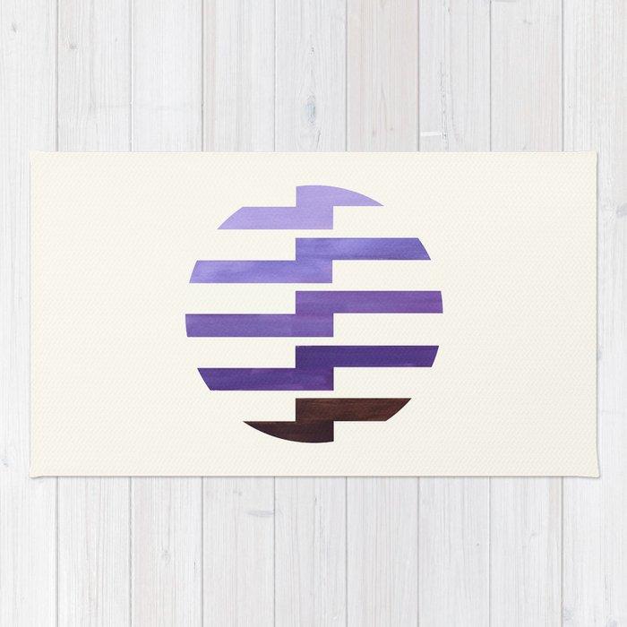 Minimalist Mid Century Circle Frame Purple Zig Zag Colorful Lightning Bolt Geometric Pattern Rug