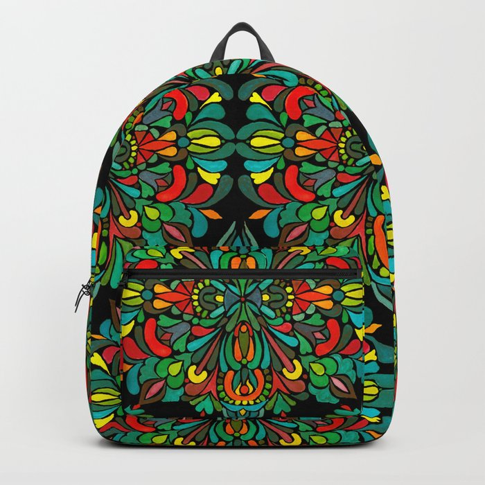 Green red orange pattern Backpack