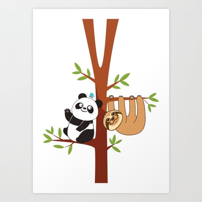 Cute Sloth & Panda Kunstdrucke