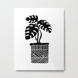 Linocut cheese plant monstera tropical leaf lino print black and white illustration art home dorm  Metal Print