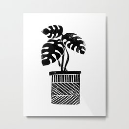 Linocut cheese plant monstera tropical leaf lino print black and white illustration art home dorm  Metal Print