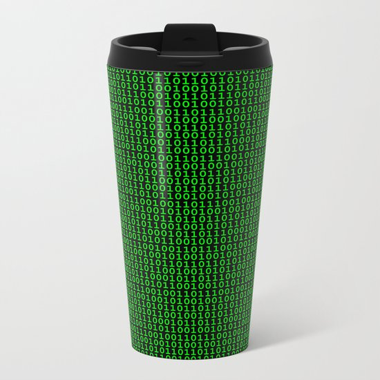 Binary Green Metal Travel Mug