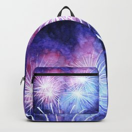 Blue and pink fireworks Backpack