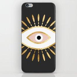 gold foil evil eye in blush iPhone Skin